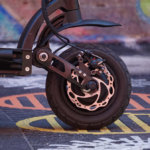 Dualtron Spider front wheel and disc brake close-up