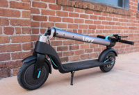 An electric scooter with folded stem