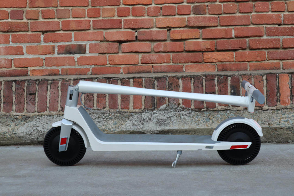 Unagi Model One electric scooter in folded configuration