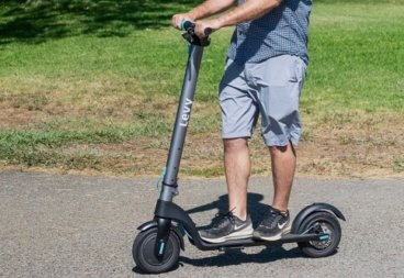 Man riding Levy electric scooter