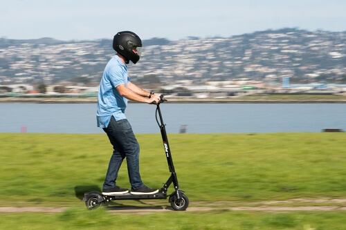 Map riding an electric scooter