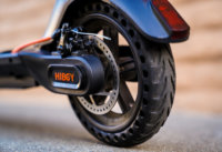 Hiboy Max V2 Electric Scooter, close-up of Rear Wheel, Disc Brake, and Solid Tire