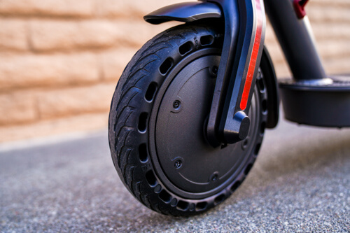 Hiboy S2 Electric Scooter - front solid tire, close-up