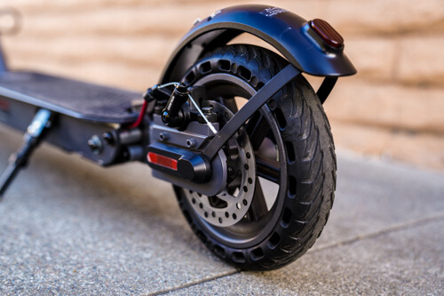 Hiboy S2 Electric Scooter - rear wheel, fender, and brake, close-up