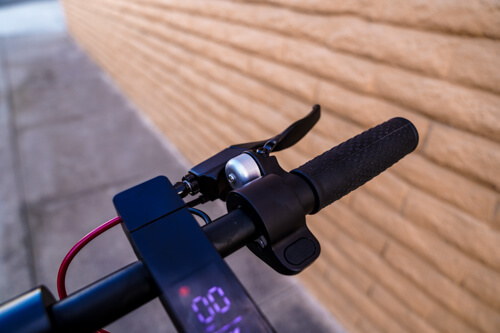 Hiboy S2 Electric Scooter - right handlebar, brake lever, bell, close-up