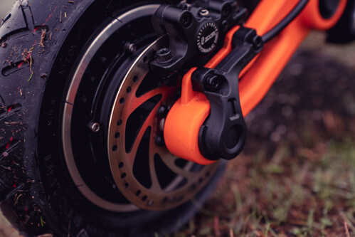 Inokim OXO Electric Scooter - front hydraulic disc brake, close-up, cropped