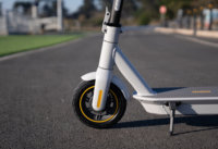 Segway Ninebot Max G30LP Electric Scooter - front wheel, folding mechanism, deck, side view, cropped
