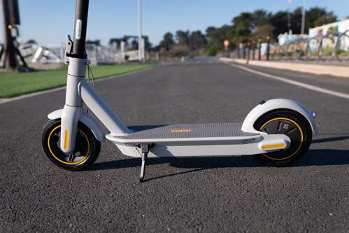 Segway Ninebot Max G30LP Electric Scooter - wheels, deck, kickstand, side view, cropped view