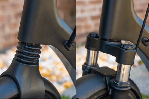 Apollo Air electric scooter with single suspension vs Apollo Air electric scooter with dual suspension (front only), close-up comparison