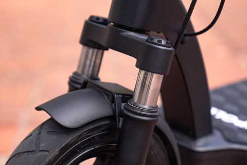 Apollo Air Pro electric scooter - front fork suspension, close-up