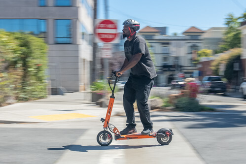 Heavier rider on the Emove Cruiser electric scooter