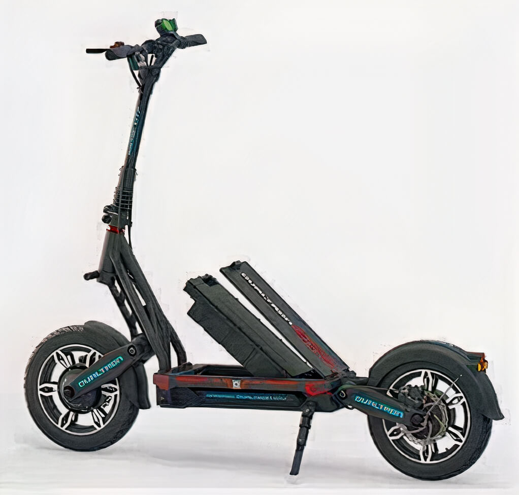 Minimotors Dualtron City electric scooter with battery being removed