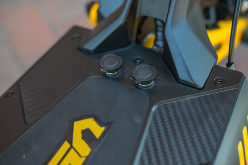 Close up of VSETT 10+ electric scooter charging ports